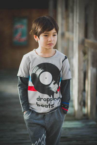 Dropping Beats Vinyl Baby Twofer Shirt by: Mini Shatsu