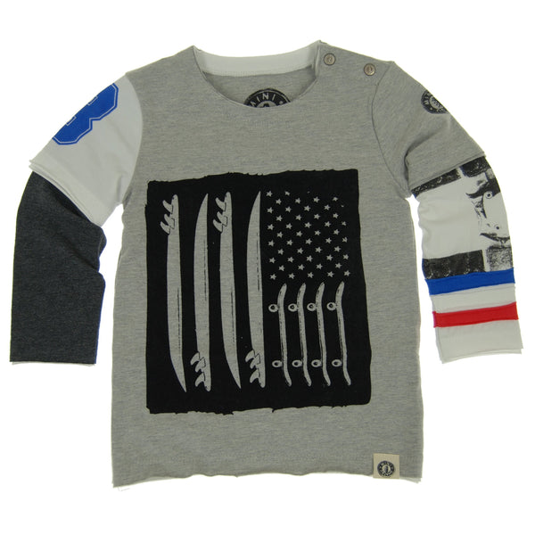 Skate & Surf Flag Baby Twofer Shirt by: Mini Shatsu