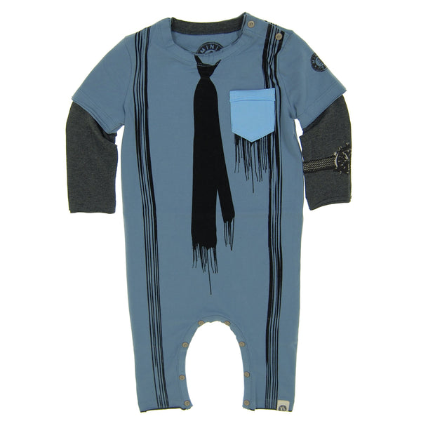 Paint Drip Tie & Suspenders Baby Romper by: Mini Shatsu