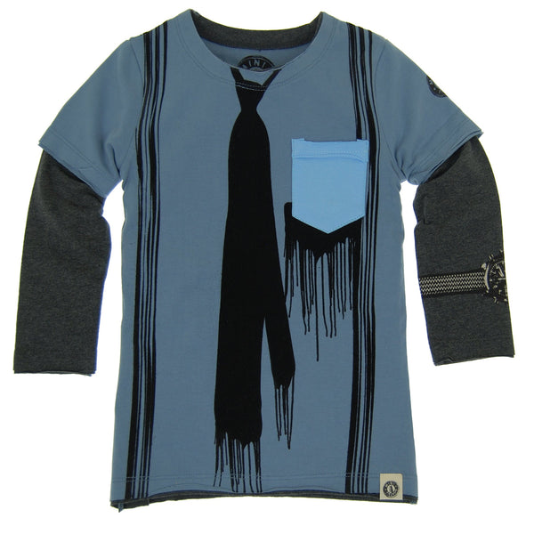 Paint Drip Tie & Suspenders Twofer Shirt by: Mini Shatsu