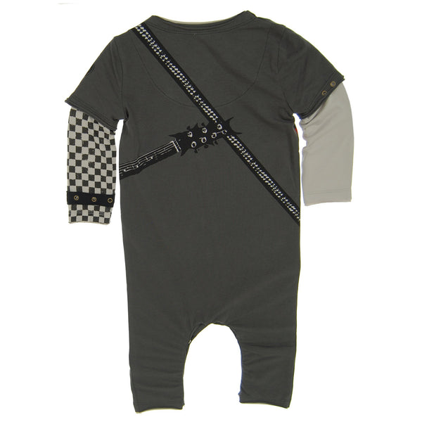 Rock And Roll Electric Guitar Baby Romper by: Mini Shatsu
