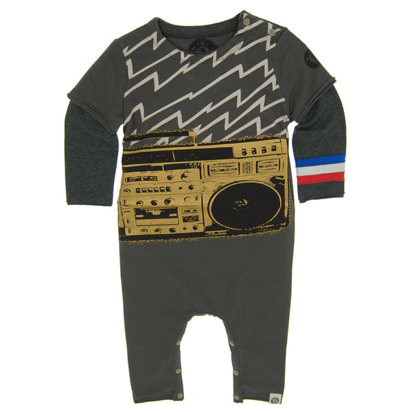 Electric Boom Box Baby Romper by: Mini Shatsu