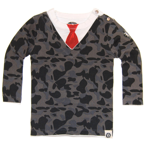 Blue Camouflage Sweater Tie Baby T-Shirt by: Mini Shatsu