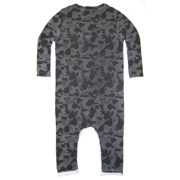 Blue Camouflage Sweater Tie Baby Romper by: Mini Shatsu