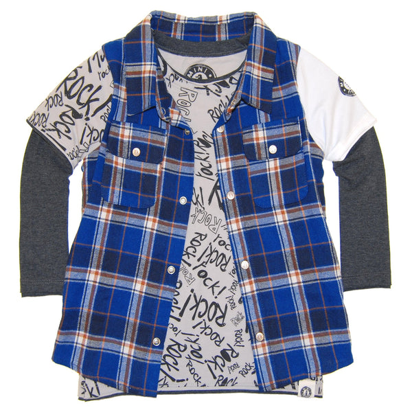 Rock Graffiti Plaid Twofer T-Shirt by: Mini Shatsu