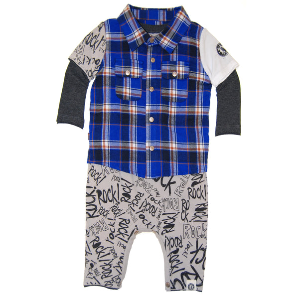 Rock Graffiti Plaid Twofer Baby Romper by: Mini Shatsu