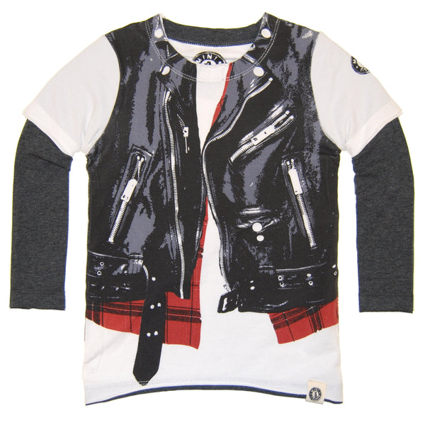 Plaid Leather Biker Vest Twofer T-Shirt by: Mini Shatsu