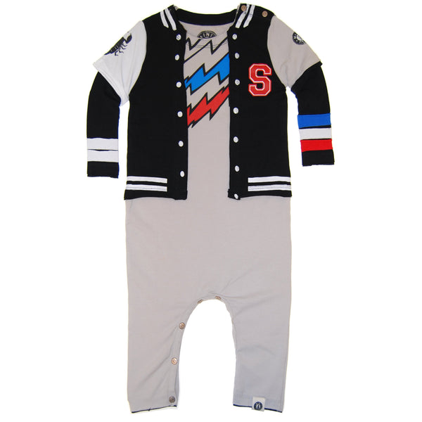 Super Hero Letterman Twofer Baby Romper by: Mini Shatsu