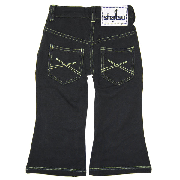 Black-Green Franco French Terry Baby Jeans by: Mini Shatsu
