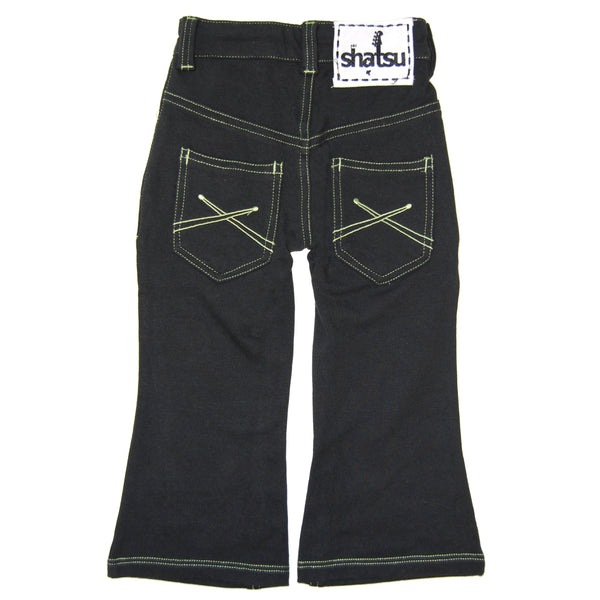 Black-Green Franco French Terry Jeans by: Mini Shatsu