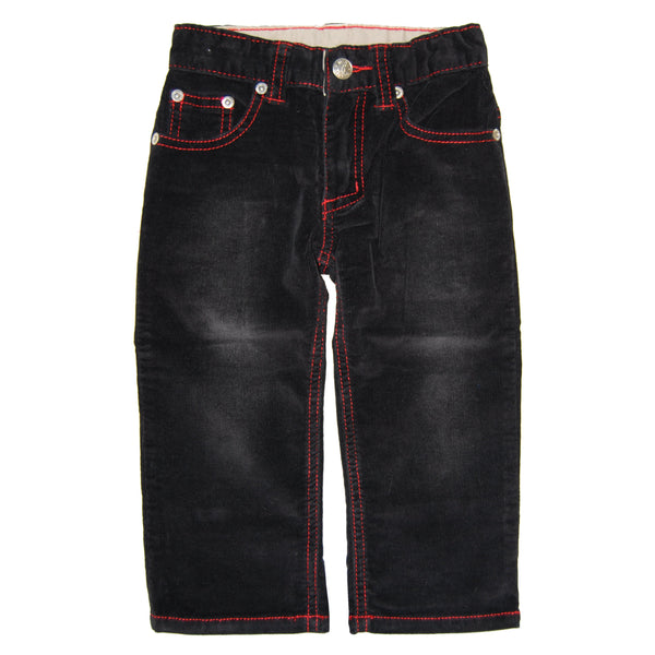 Black-Red Roy Corduroy Baby Jeans by: Mini Shatsu