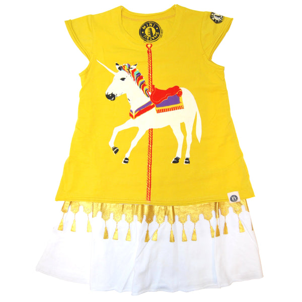 White Unicorn Carousel Baby Dress by: Mini Shatsu