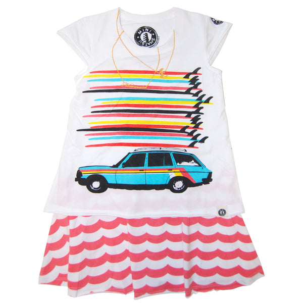 Surfboard Tower Station Wagon Baby Dress by: Mini Shatsu