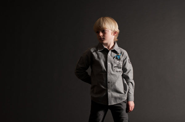 Pow! Pocket Super Hero Baby Button Down Shirt by: Mini Shatsu