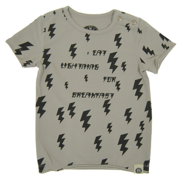 Lightning For Breakfast Baby T-Shirt by: Mini Shatsu Essentials