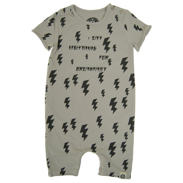 Lightning For Breakfast Baby Romper by: Mini Shatsu Essentials