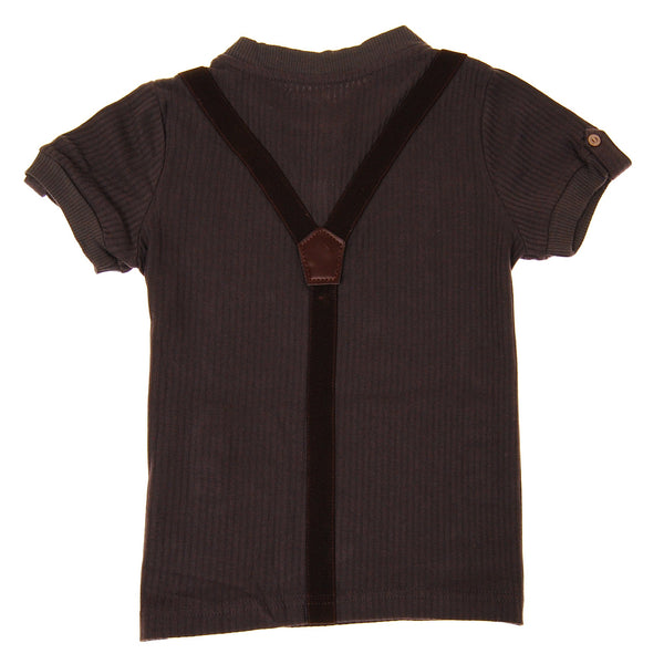 Bow Tie Suspenders Henley Shirt by: Mini Shatsu