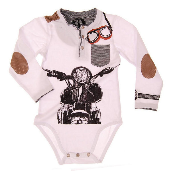 Vintage Biker Long Sleeve Henley Bodysuit by: Mini Shatsu