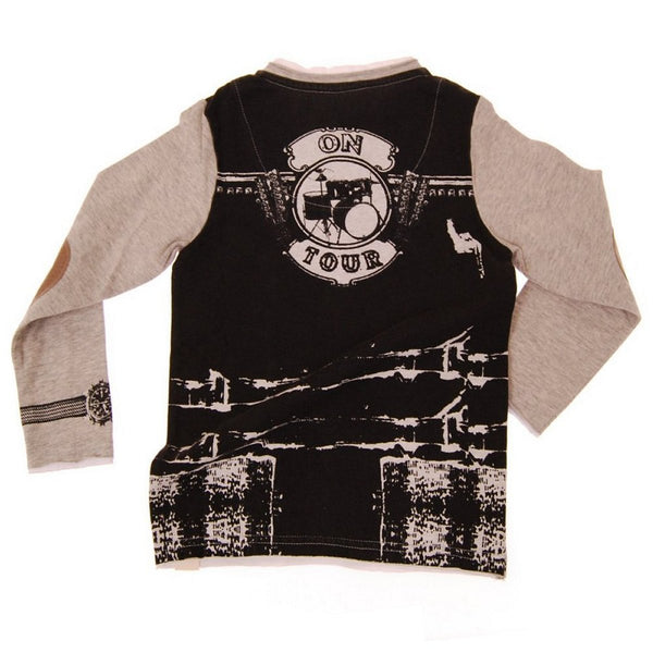 Leather On Tour Vest Baby Henley Shirt by: Mini Shatsu