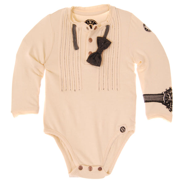 Ruffles & Bow Tie Henley Bodysuit by: Mini Shatsu