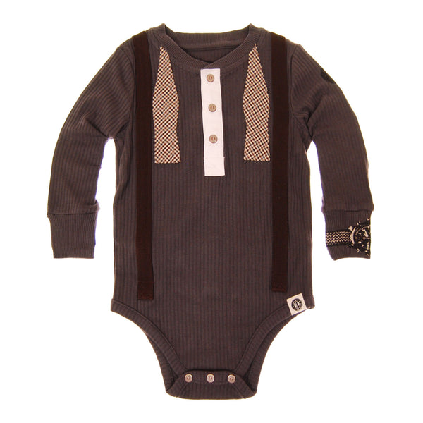 Real Suspender Bow Tie Henley Bodysuit by: Mini Shatsu