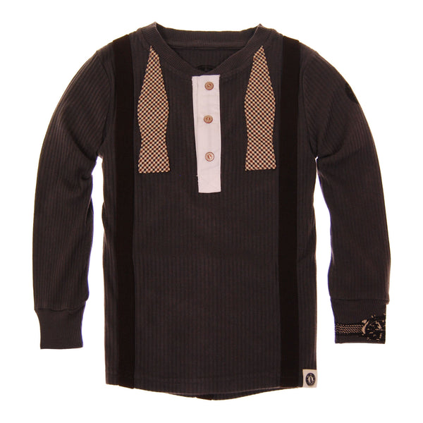 Real Suspender Bow Tie Baby Henley Shirt by: Mini Shatsu