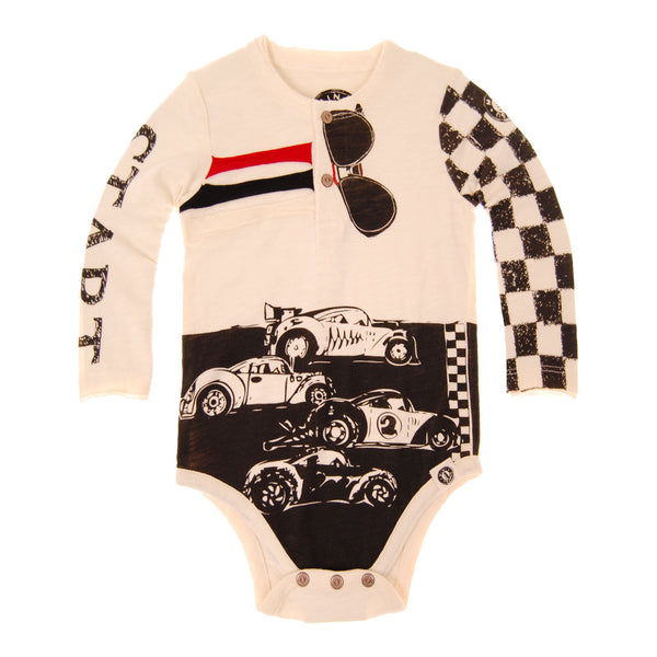 Checker Racers Henley Bodysuit by: Mini Shatsu
