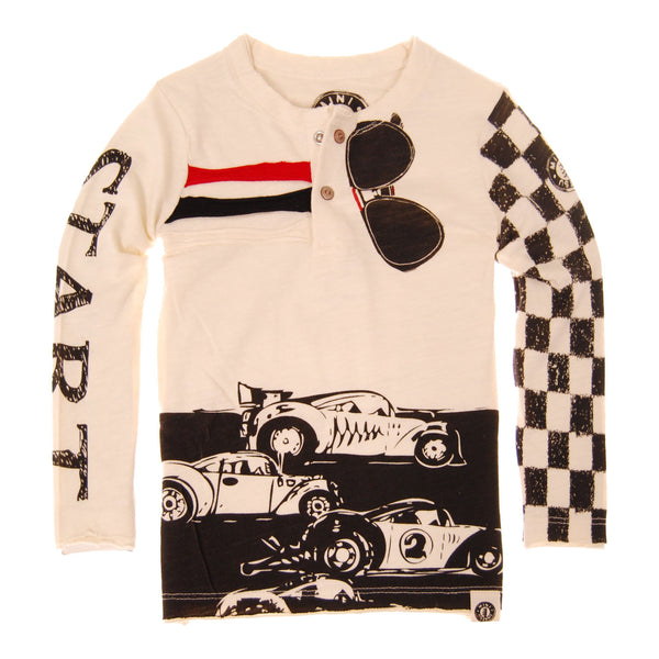 Checker Racers Baby Henley Shirt by: Mini Shatsu