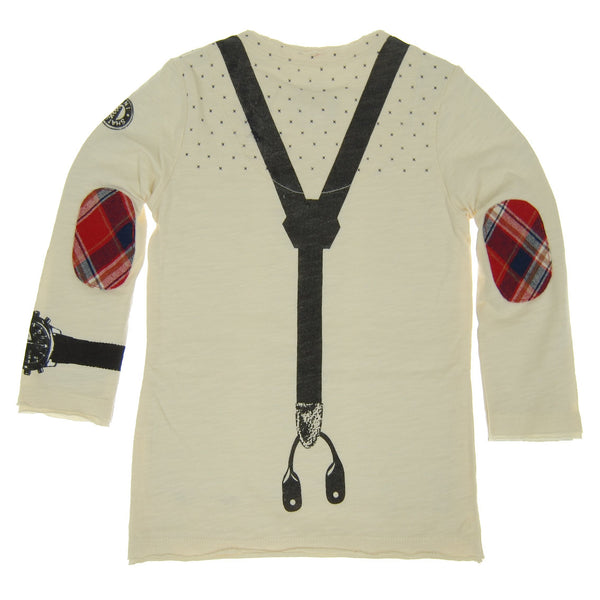 Suspender Bow Tie Henley Shirt by: Mini Shatsu