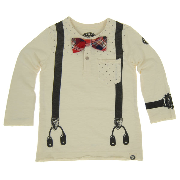 Suspender Bow Tie Baby Henley Shirt by: Mini Shatsu