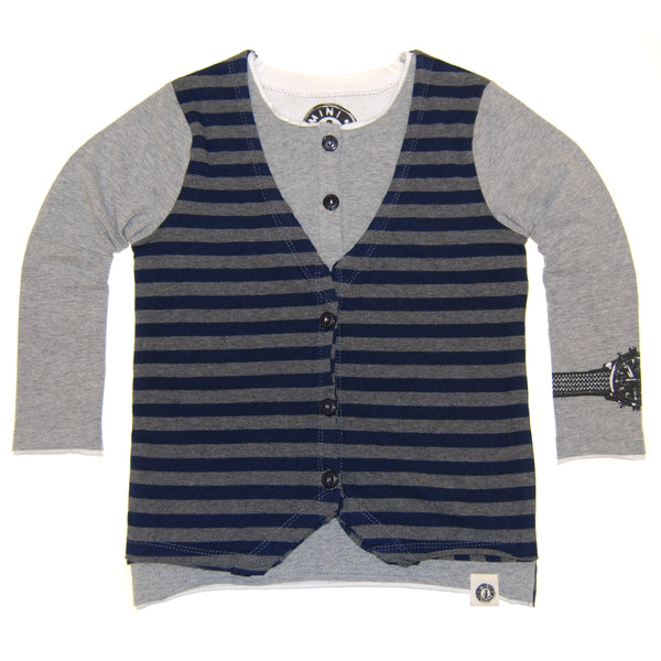 Layered Henley Vest Baby Shirt by: Mini Shatsu
