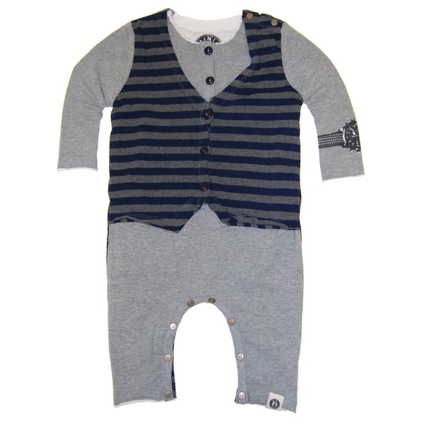 Layered Henley Vest Baby Romper by: Mini Shatsu