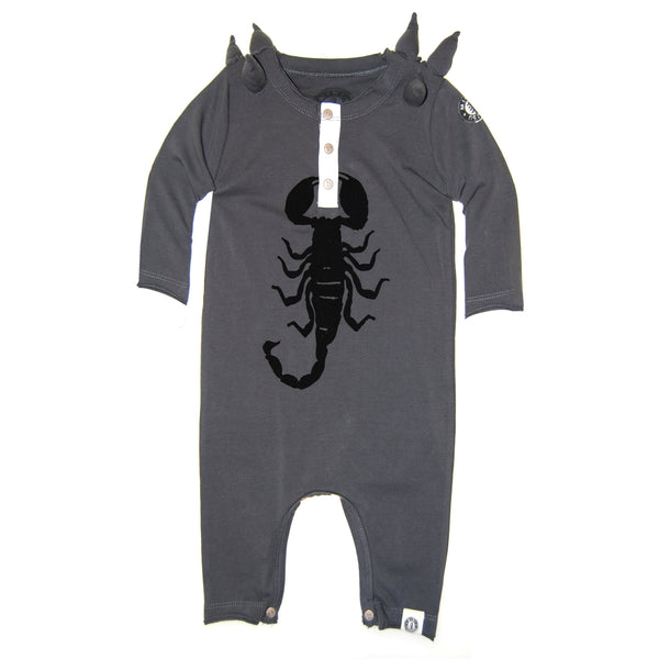 Spike Scorpion Henley Baby Romper by: Mini Shatsu