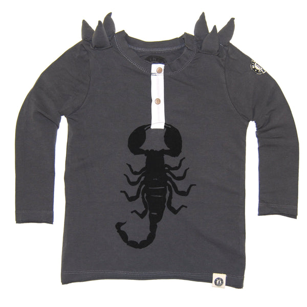 Spike Scorpion Henley Baby Shirt by: Mini Shatsu