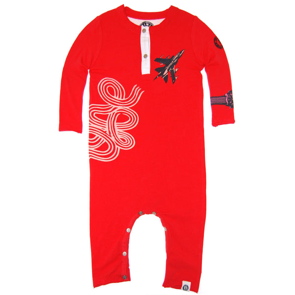 Fighter Jet Henley Baby Romper by: Mini Shatsu