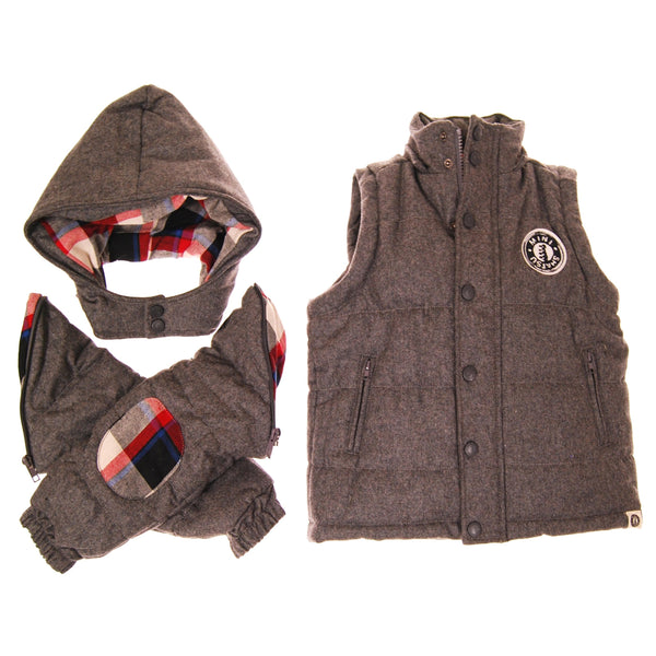 Hint of Plaid Hooded Puffy Jacket by: Mini Shatsu