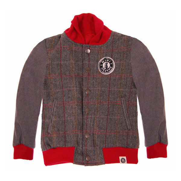 Red Tweed Letterman Baby Jacket by: Mini Shatsu