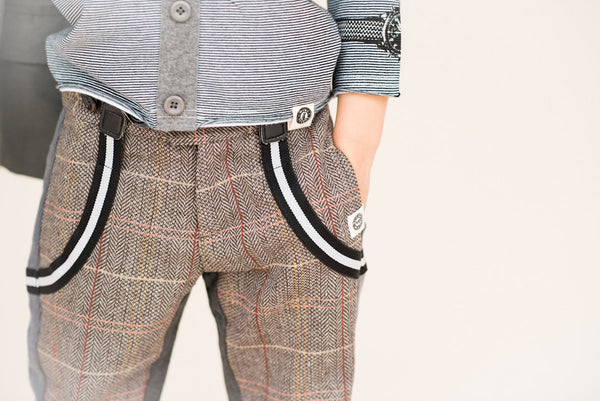 Two-Face Tweed-Herringbone Suspender Pants by: Mini Shatsu
