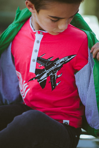 Fighter Jet Henley Shirt by: Mini Shatsu