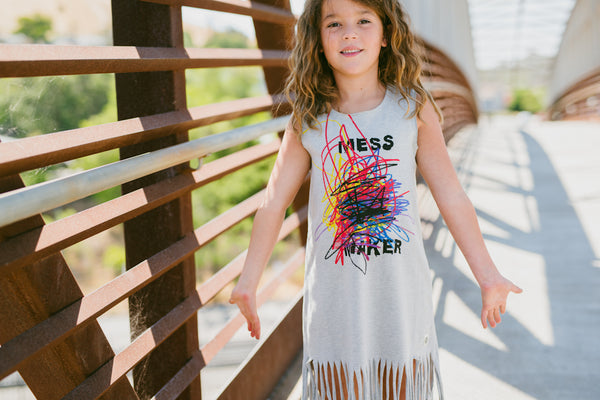 Mess Maker Fringe Baby Dress by: Mini Shatsu