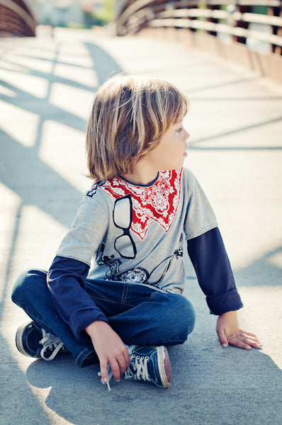 Biker Red Bandana Baby Twofer T-shirt by: Mini Shatsu