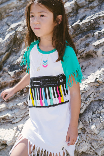 Piano Keyboard Fringe Baby Dress by: Mini Shatsu