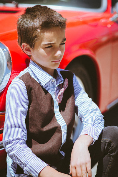 Tweed Vest Bow Tie Button Down Shirt by: Mini Shatsu