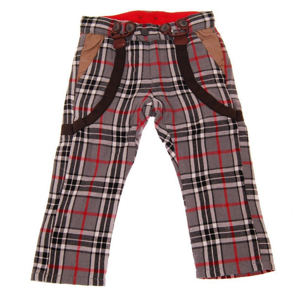 Grey Plaid Suspenders Baby Pants by: Mini Shatsu