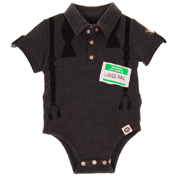 Ladies Man Polo Bodysuit by: Mini Shatsu