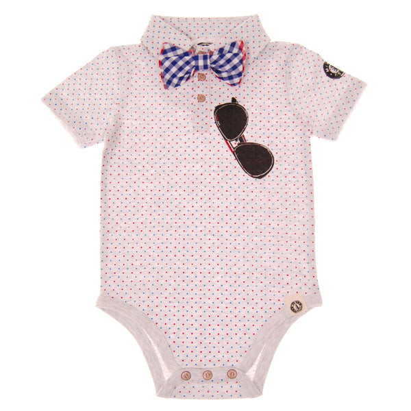 Polka Dot Bow Tie Polo Bodysuit by: Mini Shatsu
