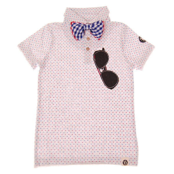 Polka Dot Bow Tie Polo Shirt by: Mini Shatsu