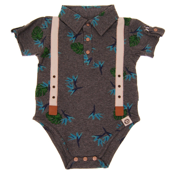 Aloha Suspenders Polo Bodysuit by: Mini Shatsu