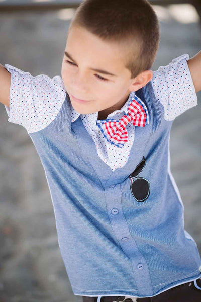 Bow Tie Cardigan Polo Shirt by: Mini Shatsu