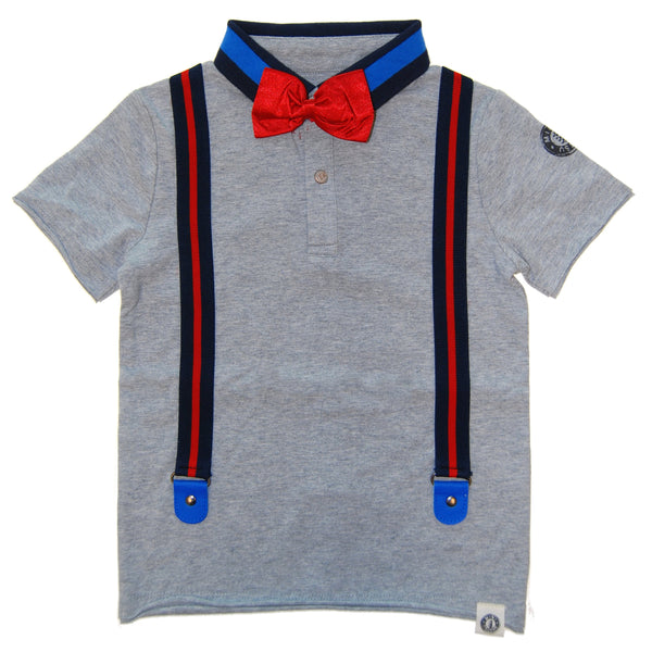 Silk Bow Tie Suspender Polo Shirt by: Mini Shatsu